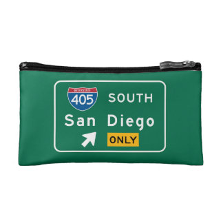 San Diego, CA Road Sign Cosmetic Bag