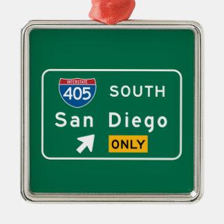 San Diego, CA Road Sign Metal Ornament