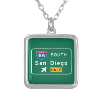 San Diego, CA Road Sign Personalized Necklace