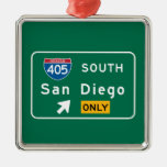 San Diego, CA Road Sign Square Metal Christmas Ornament