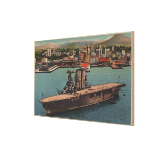 San Diego CA - View U S Navy Aircraft Carrier Gallery Wrap Canvas