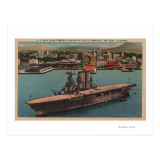 San Diego, CA - View U.S. Navy Aircraft Carrier Postcard