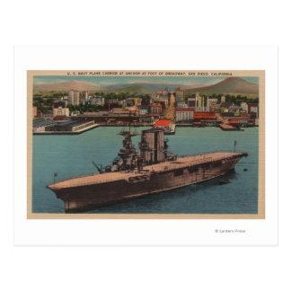San Diego, CA - View U.S. Navy Aircraft Carrier Postcard
