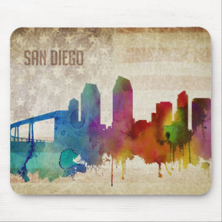 San Diego, CA   Watercolor City Skyline Mouse Pad