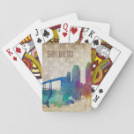 "San Diego, CA | Watercolor City Skyline Playing Cards<br><div class=""desc"">A neon watercolor outline of the San Diego city skyline with a distressed American flag backdrop.</div>"