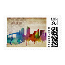 San Diego, CA | Watercolor City Skyline Postage