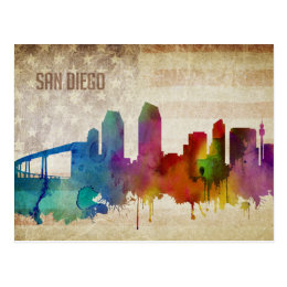 San Diego, CA | Watercolor City Skyline Postcard