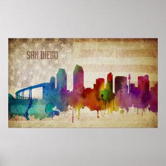 San Diego, CA | Watercolor City Skyline Poster