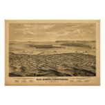 San Diego California 1876 Antique Panoramic Map Print
