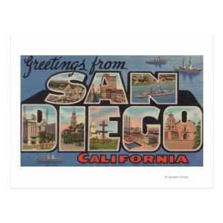 San Diego California - escenas grandes de la letr Postales