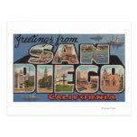 San Diego, California - escenas grandes de la letr Postales