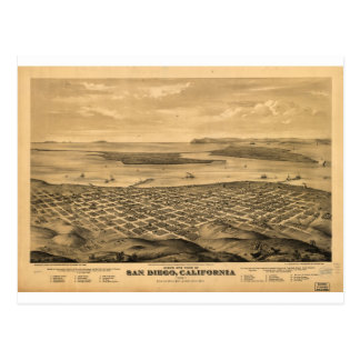 San Diego California in the 1876 Postcard