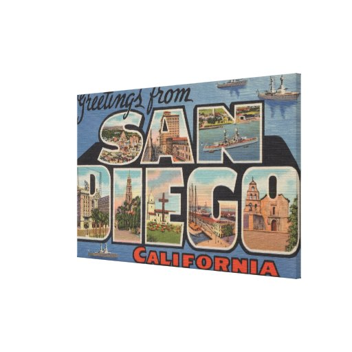 San Diego, California - Large Letter Scenes 2 Canvas Print