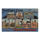 San Diego, California - Large Letter Scenes 2 Poster