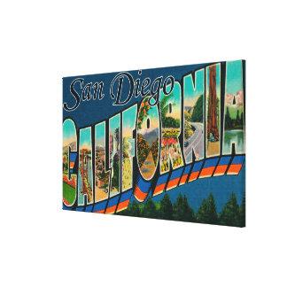 San Diego, California - Large Letter Scenes Canvas Print