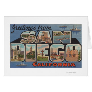San Diego, California - Large Letter Scenes Greeting Card