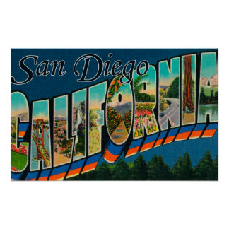 San Diego, California - Large Letter Scenes Posters