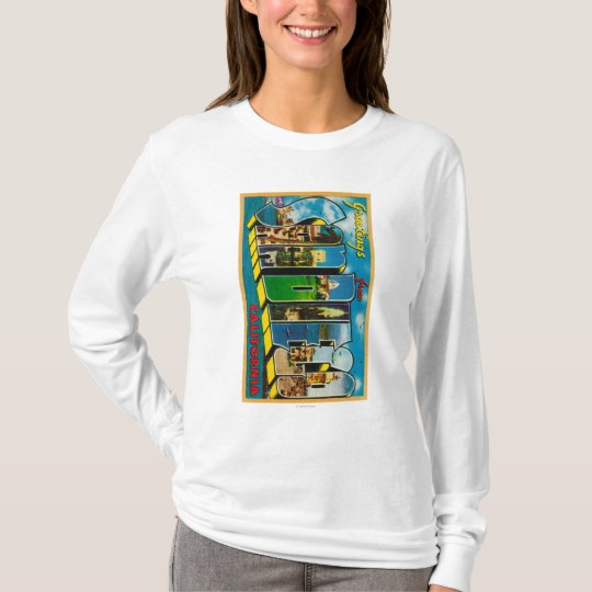 San Diego, California - Large Letter Scenes T-Shirt