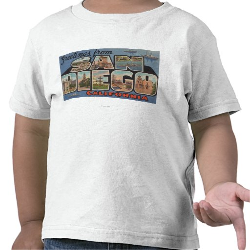San Diego, California - Large Letter Scenes Tshirt