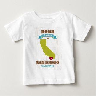San Diego, California Map – Home Is Where The Hear Baby T-Shirt