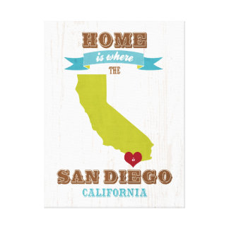 San Diego, California Map – Home Is Where The Hear Gallery Wrapped Canvas