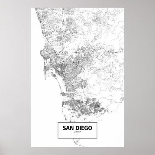 San Diego, California (negro en blanco) Póster