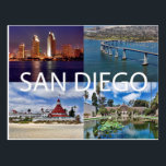 "San Diego, California Postcard<br><div class=""desc"">Four iconic images of San Diego,  California. Upper Left: Downtown night skyline from Coronado Island. Upper Right: Coronado Bridge. Lower Right: Hotel Del Coronado on Coronado Island. Lower Right: Balboa Park.</div>"