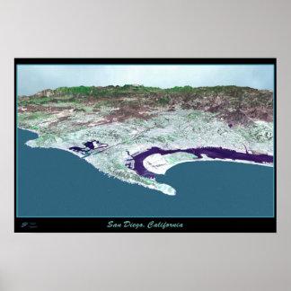 San Diego California satellite poster
