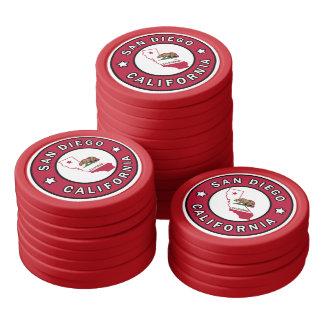 San Diego California Set Of Poker Chips