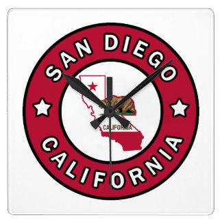 San Diego California Square Wall Clock
