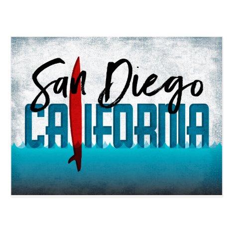 San Diego California Surfboard Surfing Postcard
