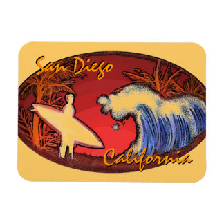 San Diego California surfer art rectangle magnet