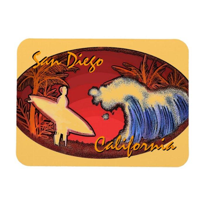 San Diego California surfer art rectangle magnet