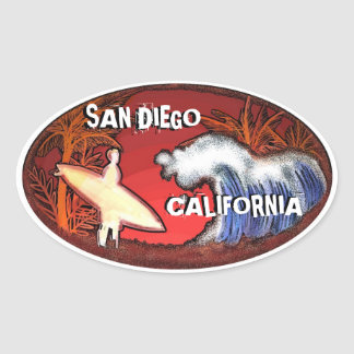 San Diego California surfer waves art stickers
