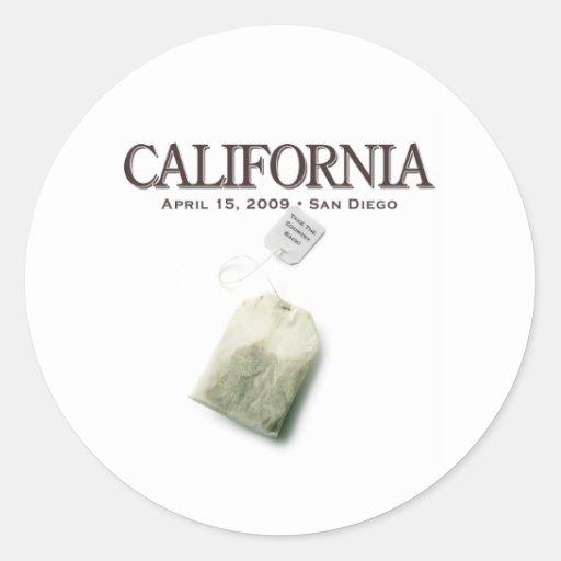 San Diego California Tea Party Round Stickers