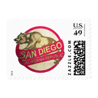San Diego California vintage bear stamps
