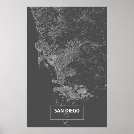 San Diego, California (white on black) Poster