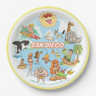 San Diego Cartoon Paper Plate