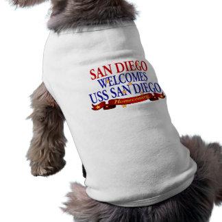 San Diego da la bienvenida a USS San Diego Playera Sin Mangas Para Perro