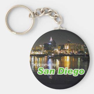 San Diego en la noche Llavero Redondo Tipo Pin