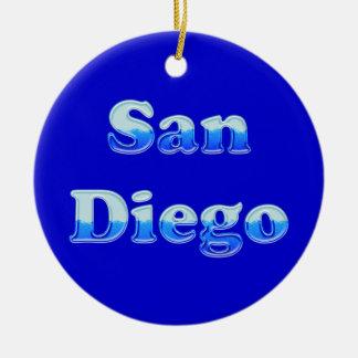 San Diego flúida - en azul Adorno Redondo De Cerámica