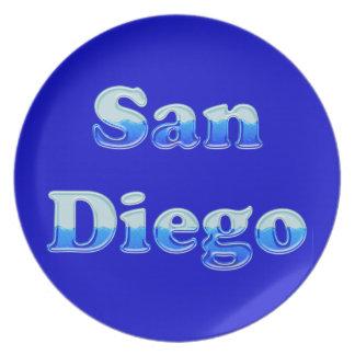 San Diego flúida - en azul Platos Para Fiestas
