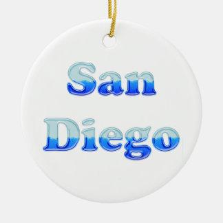 San Diego flúida - en blanco Adorno Redondo De Cerámica