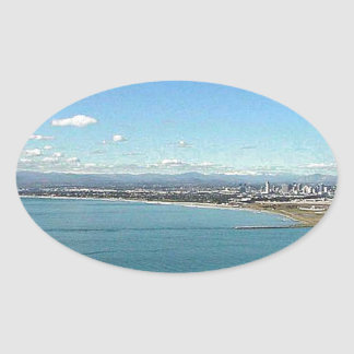 San Diego From The Cabrillo Statue Oval Sticker