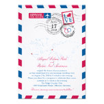 San Diego & Germany Airmail Heart Wedding 5x7 Paper Invitation Card