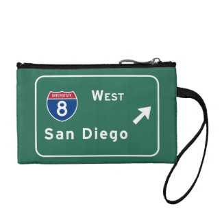 San Diego I-8 West Exit Interstate California Ca - Coin Purse