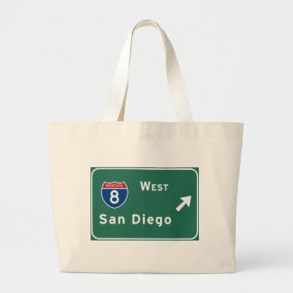 San Diego I-8 West Exit Interstate California Ca - Large Tote Bag