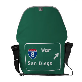 San Diego I-8 West Exit Interstate California Ca - Messenger Bag