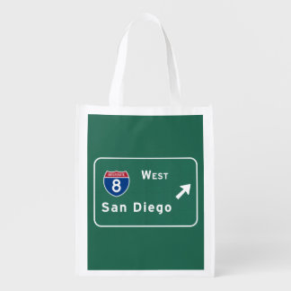 San Diego I-8 West Exit Interstate California Ca - Reusable Grocery Bag