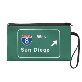 San Diego I-8 West Exit Interstate California Ca - Wristlet Purse
